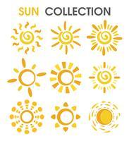 Le soleil coloré de dessin animé dans un format simple.