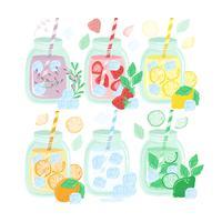 Collection de boissons d'été dessinée à la main