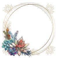 Le cadre est rond. Cadre doré avec des fleurs succulentes. Aquarelle. Graphique