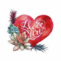 La Saint Valentin. Aquarelle coeur et plantes succulentes. Caractères.