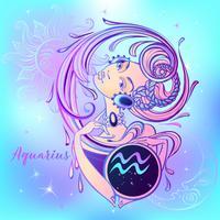 Signe du zodiaque Verseau une belle fille. Horoscope. Astrologie. Vecteur.