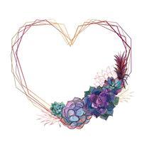 Cadre coeur doré avec plantes succulentes. Valentin. Aquarelle. Graphiques. Vecteur.