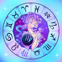 Signe du zodiaque vierge une belle fille. Horoscope. Astrologie.