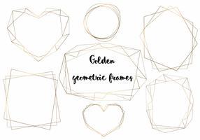 Cadres géométriques en or. Échantillons pour cartes et invitations. Vecteur.
