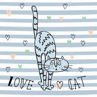 Chat Doodle Enthousiaste dans un style mignon. Fond rayé. Vecteur