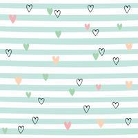Rayures sans couture avec coeurs. Joli motif à rayures vertes. Vecteur