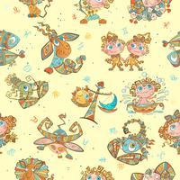 Modèle sans couture avec les signes du zodiaque pour les enfants. Vecteur. cercles du zodiaque.