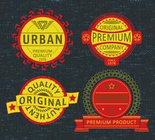 Ensemble d'insignes, de t-shirts d'étiquettes, d'étiquettes ou de vêtements de loisirs vecteur