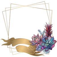 Cadre doré avec un bouquet de plantes succulentes. Vecteur.