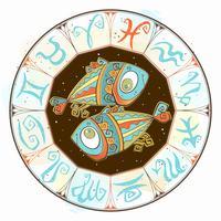 Horoscope pour les enfants signent des Poissons dans le cercle zodiacal. Vecteur