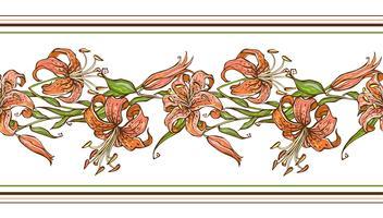 Lis tigré. Modèle sans couture. Bordure de fleurs. Illustration vectorielle