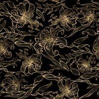 Motif floral doré sur fond noir. Bouquet de Lys. Vecteur