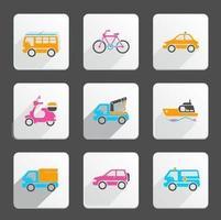 Pack d'icônes vecteur de transport lumineux