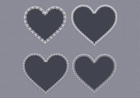 Pack dentelle vecteur noir coeur deux