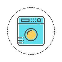 Icônes de blanchisserie dans le style de couleurs plates. Illustration vectorielle