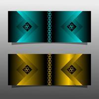 Conception de concept de technologie abstraite bannière noire. Couleur or brillant et bleu