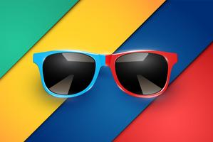 Feuilles de papier colorées avec des lunettes de soleil réalistes, illustration vectorielle