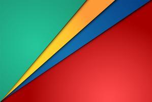 Feuilles de papier réalistes rouges, vertes, bleues et jaunes
