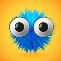 Émoticône de smiley de fourrure 3D de haute précision, illustration vectorielle