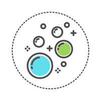 Blanchisserie de bulle d'icône. couleur bleu, vert, gris vecteur
