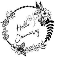 Bonjour janvier lettrage avec des fleurs vecteur