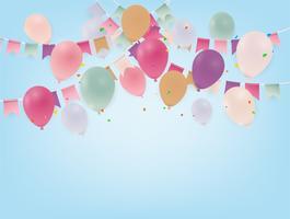 Affiche anniversaire avec des ballons. Drapeaux colorés et confettis sur fond bleu.