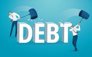 Homme détruisant le mot dette avec un marteau. illustration vectorielle