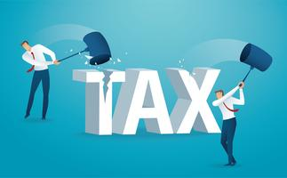 Homme détruisant le mot impôt avec un marteau. illustration vectorielle