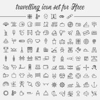 jeu d'icônes de voyage vecteur