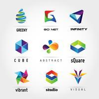 Abstrait coloré Business Logo Set signe symbole icône vecteur