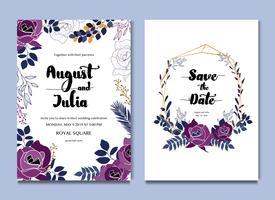 Invitation de carte de mariage de célébration florale blanche pourpre vecteur