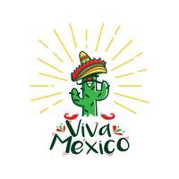 logo de cactus viva mexico vecteur