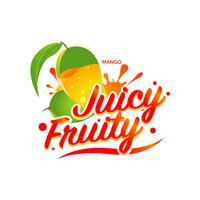 Icône du logo symbole de signe fruité juteux mangue fraîche