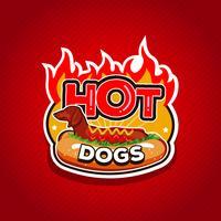 Badge de conception de logo Hot Dogs Fire