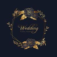 Fond d'anniversaire de mariage cadre floral doré vecteur