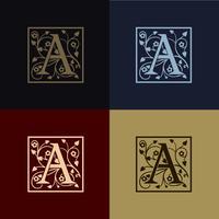lettre A logo de décoration vecteur