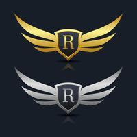 Modèle de logo lettre R de bouclier d'ailes vecteur
