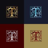 Lettre T Logo Décoratif vecteur