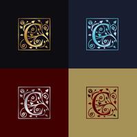 Logo décoratif lettre C vecteur
