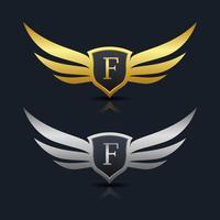 Modèle de logo lettre W bouclier Wings vecteur
