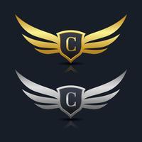 Logo de l'emblème de la lettre C vecteur