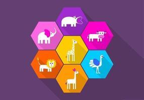 Pack de vecteur icône animaux ludiques