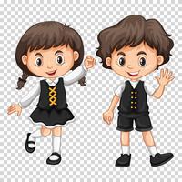 Garçon et fille aux cheveux noirs vecteur