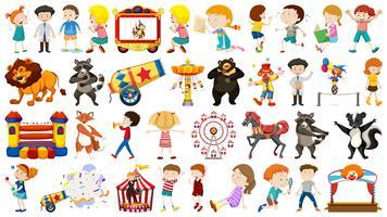 Ensemble d'enfants et de cirque vecteur
