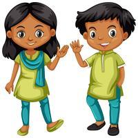 Garçon et fille d'Inde en costume vert et bleu vecteur