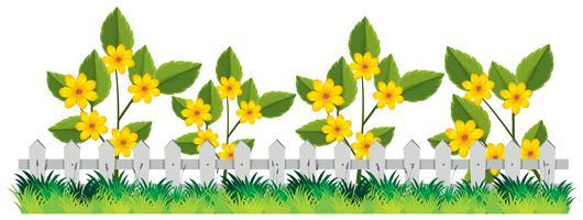 Une belle clôture de fleurs vecteur