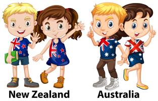 Enfants de Nouvelle Zélande et d'Australie vecteur