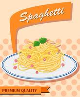 Menu spaghetti sur un poster vecteur
