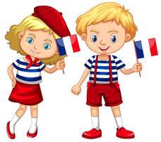 Garçon et fille avec drapeau de la france vecteur