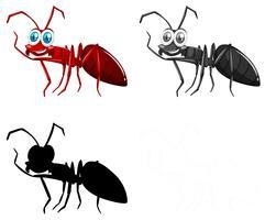 Ensemble de personnage de fourmi vecteur